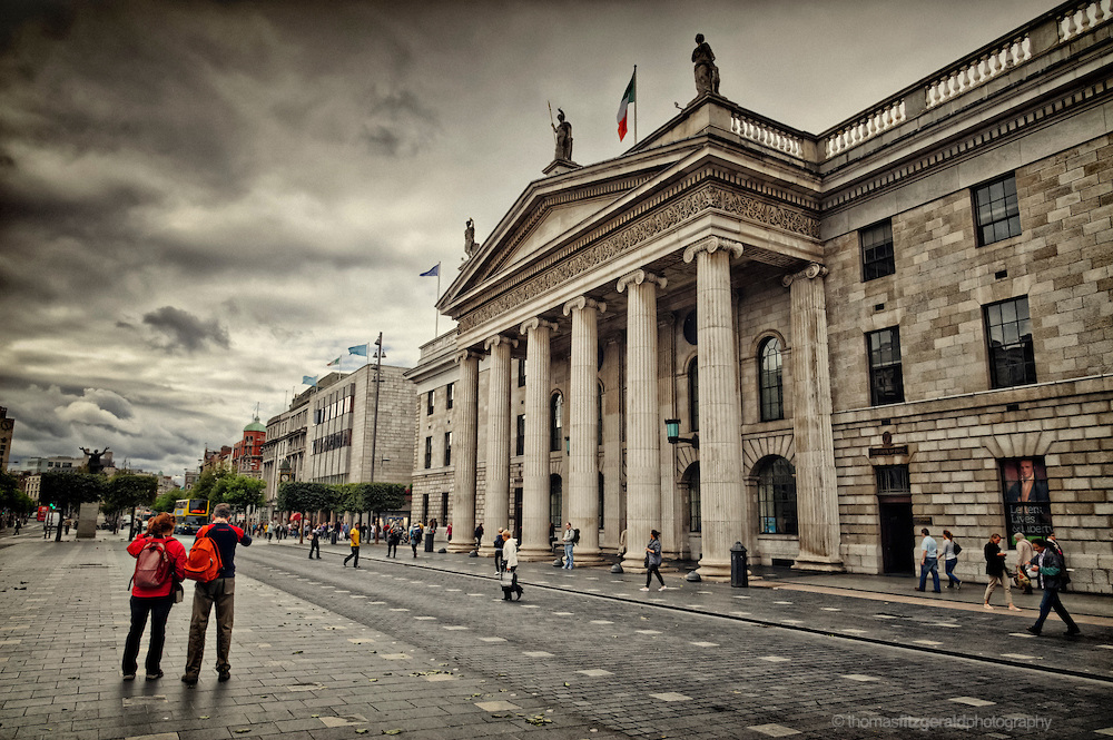 Tourists outside the GPO on a dull day